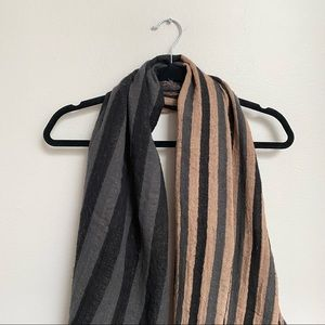 Wilfred Aritzia Wool Scarf Grey and Pink Stripes
